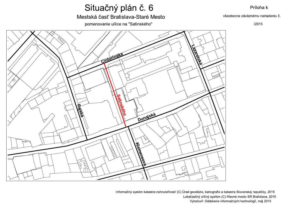 Situacny plán č. 6 Satinského